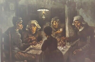 """Vintage 1952 full Color Art Plate """"The Potato Eaters"""" by Van Gogh Litho Abrams"""