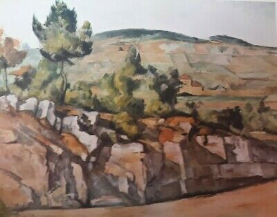 """1952 Vintage Full Color Art Plate """"MOUNTAINS IN PROVENCE"""" CEZANNE Lithograph"""