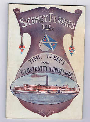 Orig 1913 Sydney Ferries Time Table & Tourist Guide Australia, w/ Tram Timetable