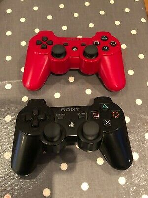 Official Sony Playstation 3 PS3 Controllers Black and Red Duelshock