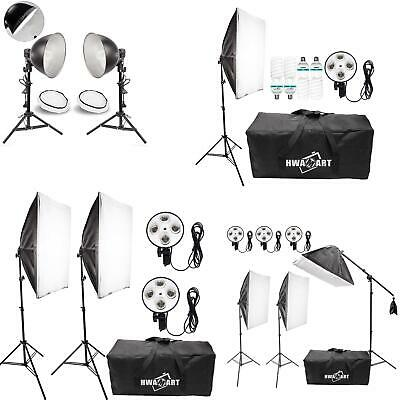 Continuous Lighting Softbox Studio Kit Photography Light Stand Bulb Photo UK