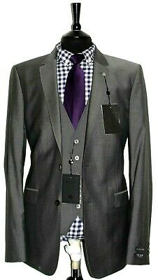 Bnwt Luxury Mens Ted Baker London Tailor Made 3 Piece Suit 42R W36