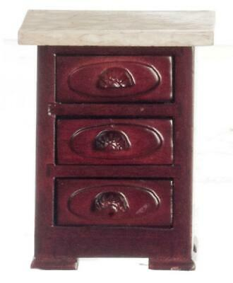 Dolls House Victorian Mahogany Marble Top Bedside Chest Miniature Furniture