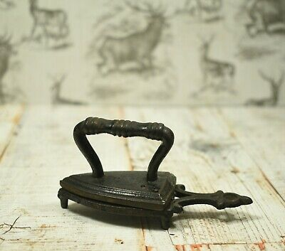 "Lovely Antique Cast Iron Miniature Victorian Iron and Trivet (Trivet 4"" inches)"