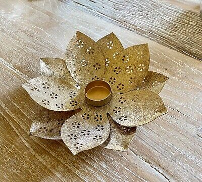3 x GOLD LOTUS FLOWER CANDLE HOLDERS - BN