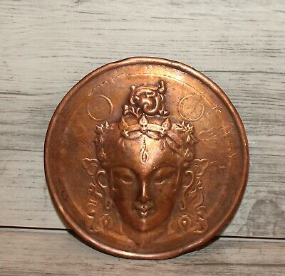 Vintage hand made copper wall hanging plaque woman Hindu deity