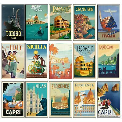 Vintage CLASSIC ITALY Travel Retro Posters Prints Art Tourism Holiday Home Decor