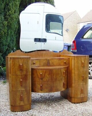 superb 1930s Art Deco walnut boudoir dressing table cloud shaped deco desk
