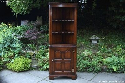 A Titchmarsh And Goodwin Solid Oak Corner Display Cabinet Cupboard Shelves Stand