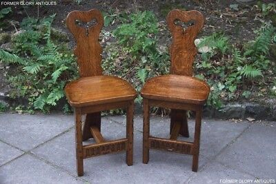 Pair Of Rupert Nigel Griffiths Monastic Dining Cottage Hall Chairs Stools Pew