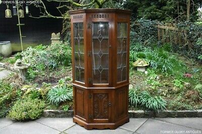 Old Charm Light Oak Canted China Glass Display Cabinet Shelves Sideboard Dresser