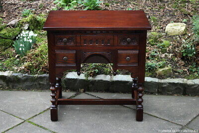 Old Charm Tudor Oak Office Desk Writing Hall Table Laptop Computer Stand Drawers