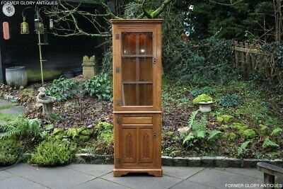Old Charm Vintage Oak Corner China Glass Display Cabinet Stand Shelves Cupboard
