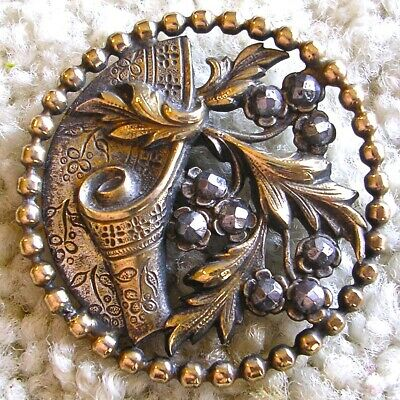 Ex Rare antique French extraordinary CUT-STEEL brass button, 1880s-1890s
