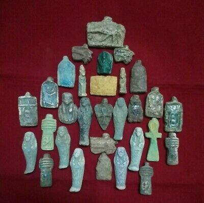 lot of 30 Ancient Egyptian Antiques rare Amulets (1816 BC)