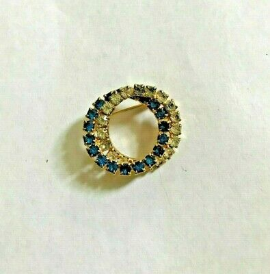 RETRO SMALL DOUBLE CIRCLE PIN with CLEAR &  BLUE RHINESTONE SETS
