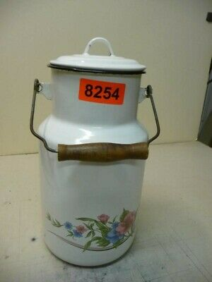 8254. Alte Emaille Email Milch Kanne Milchkanne Old enamelware