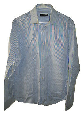 Canali Dress Shirt Striped Blue 100% Cotton Long Sleeve 16 Italy Made size 41