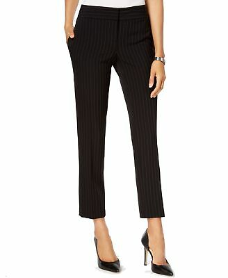 Kasper Womens Pants Black Size 16 Dress Pinstriped Mid-Rise Stretch $79 634