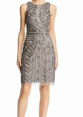 Adrianna Papell Womens Sheath Dress Gray Size 12 Embellished Sequin $229 356