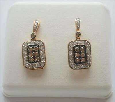 14k Yellow Gold White & Brown Diamond Earrings Pave Rectangle .75 cttw