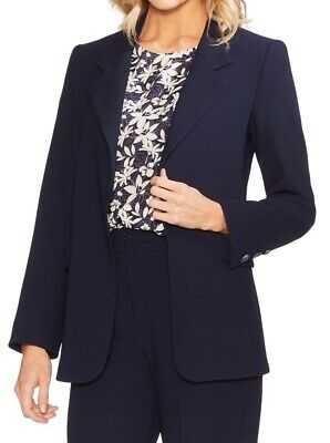 Vince Camuto Womens Blazer Navy Blue Size 6 Parisian Crepe Notch Lapel $149 238
