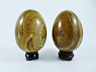 Vintage Pair Brown Marble Eggs Hand Carved Polished With Wood Stands Each Unique