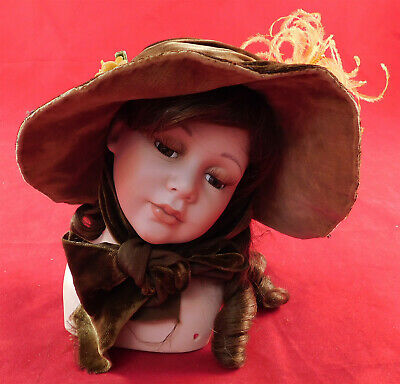 Vintage Victorian Style Brown Velvet Yellow Flower Feather Small Doll Bonnet Hat