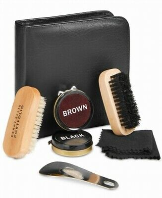 Perry Ellis Portfolio Black Brown Five Piece Flat Shoe Shine Kit $47 #360