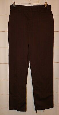Womens Dark Brown Lee Relaxed Fit Flat Front Pants Size 10 Long very good