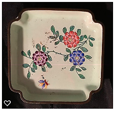 Antique Chinese Pale Green Floral Cloissone' Small Square Dish Ashtray