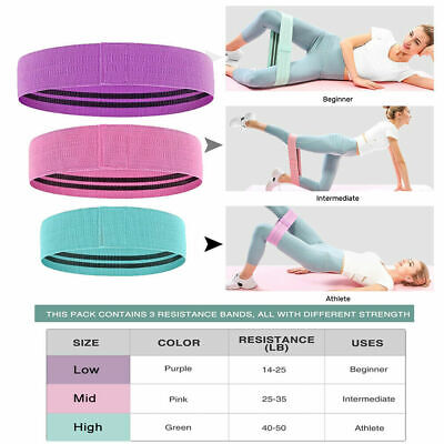 Fabric Resistance Bands Heavy Duty Booty Band Set Glute Hip Circle Non Slip UK