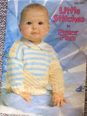 Vintage Peter Pan Baby Knitting Pattern Book Little Stitches in Peter Pan