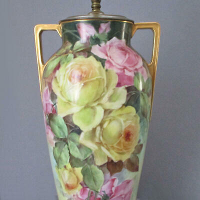 """Antique Hand Painted Limoges 16"""" Porcelain Lamp PINK Yellow ROSES w GILT Handles"""