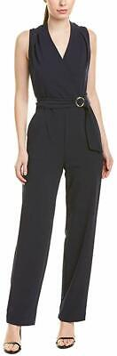 Tahari by ASL Womens Crepe Jumpsuit Navy Blue Size 2 Surplice Belted $138- 319