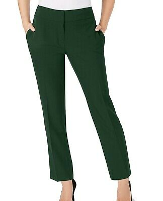 Kasper Women's Dress Pants Green Size 18 Slim Leg Crepe Ankle Stretch $79 #655