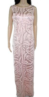 Tahari By ASL Womens Gown Pink 8 Sequin Embroidered Slit Satin Trim $189 365