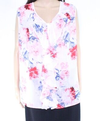 Emaline Womens Top White Size 3X Plus V-Neck Floral Print Ruffle $54 825