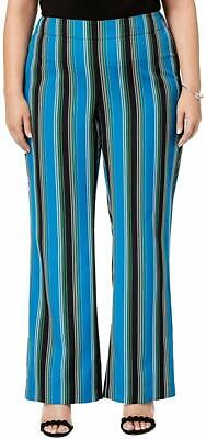 INC Women's Pants Black Blue Size 18W Plus Striped Wide Leg Stretch $78 #317