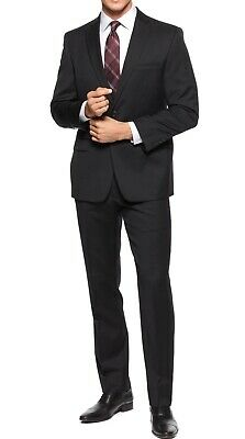 Calvin Klein Solid Black Mens Suit Set Size 40 Two Button Stretch Wool $650 #097