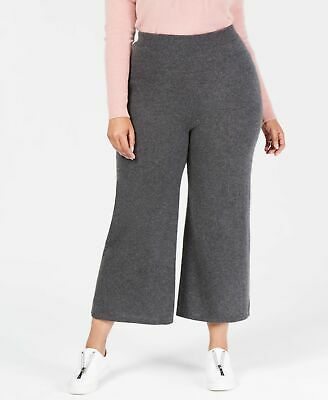 Charter Club Women's Gray Size 2X Plus Wide Leg Pants Cashmere Stretch $189 #349