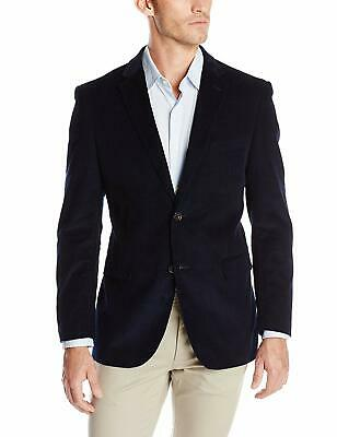 Designer Brand Mens Blazer Blue Size 46 Long Notch-Collar Corduroy $129 689