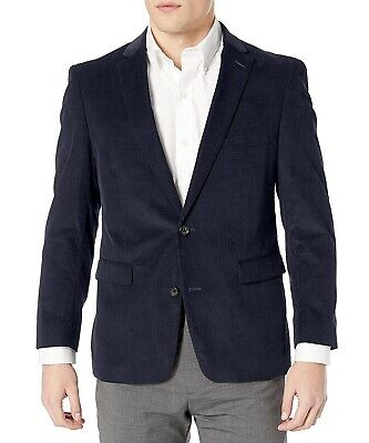 Designer Brand Mens Blazer Midnight Blue Size 48 Two-Button Corduroy $98 919