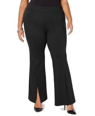 INC Womens Pants Black Size 20W Plus Split Front Flare Pull On Stretch $89- 500