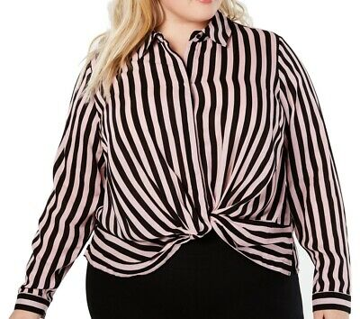 INC Womens Blouse Black Size 0X Plus Striped Split Neck Front Twist $79 138