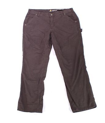 Carhartt Womens Crawford Pants Brown Size 18 Cargo Original Fit Stretch $50 554