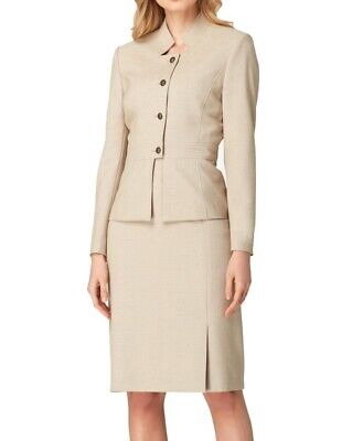 Tahari by ASL Womens Skirt Suit Beige Size 12 Button Front Split $280- 524