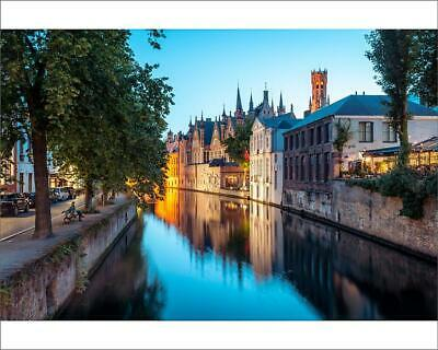 "10""x8"" (25x20cm) Print A tranquil canal scene in Bruges, with the..."