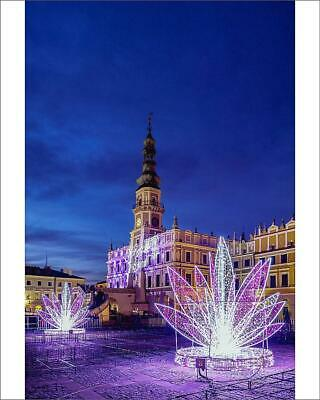 "10""x8"" (25x20cm) Print Christmas decorations at the main square o..."