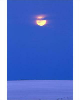 "10""x8"" (25x20cm) Print of Moon rising over dry salt lake in desert"
